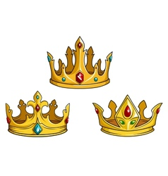 Royal golden crowns with jewelry vector
