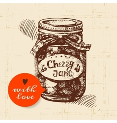 Rustic mason canning jar vintage hand drawn sketch vector