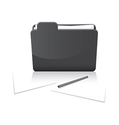 Black folder and paper vector