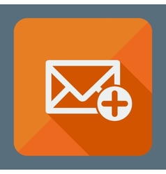 Mail icon envelope with plus sign flat design vector