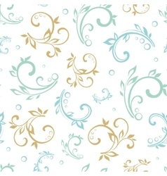 Vintage green blue beige floral swirls vector