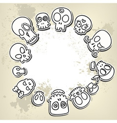 Cute sketchy skulls vector
