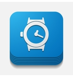 Square button watch vector