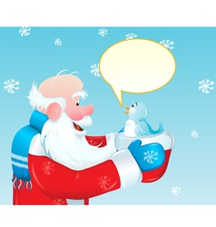 Santa claus talking to blue bird vector