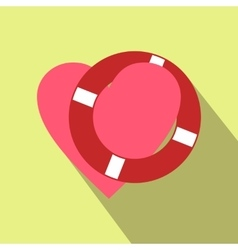 Heart with lifeline flat icon vector