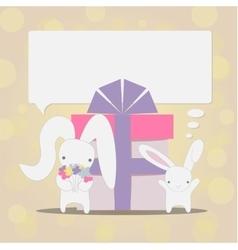 Little white rabbits birthday vector