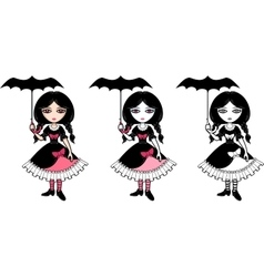 Little goth emo girl with umbrella vector