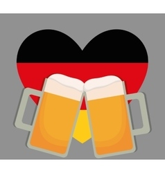 Beer Oktoberfest flag heart icon Germany vector image