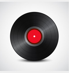 black vinyl record red in the middle isolated on vector image
