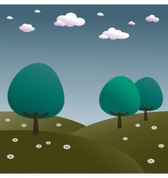 blue trees vector image vector image