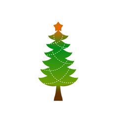 Christmas tree emblem symbol of new year fir-tree vector