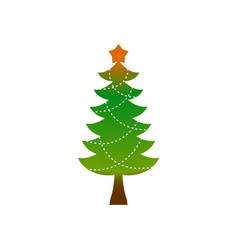 Christmas tree emblem symbol of new year fir-tree vector