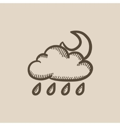Cloud with rain and moon sketch icon vector image vector image