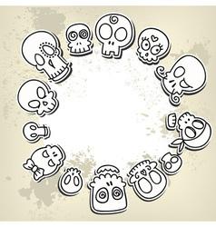 Cute sketchy skulls vector