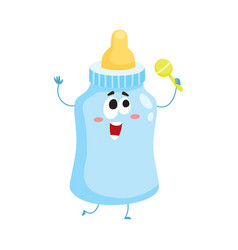 Funny baby milk feeding bottle character mascot vector