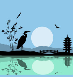 Heron silhouette on river at beautiful asian place vector