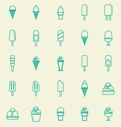 Ice cream line color icons on yellow background vector image vector image