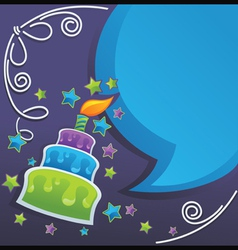 irthday cake candle and speech bubbles vector image