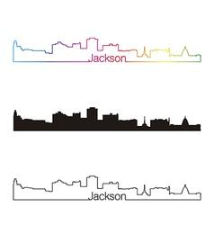 Jackson skyline linear style with rainbow vector