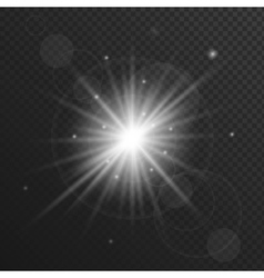 Light flare star explosion with glowing sparkles vector