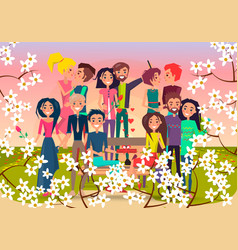 Many loving couples in spring flowering square vector