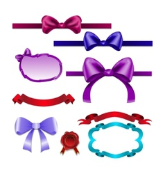 Set for design bows ribbons vector image
