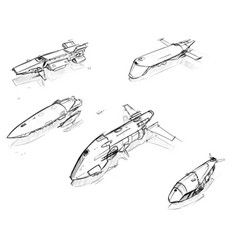 Set of hand drawn pencil sketches of sci-fi space vector