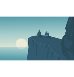 Silhouette of cliff and sea landscape vector image