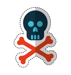 Skull danger signal icon vector