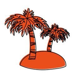 small island with palm trees icon image vector image