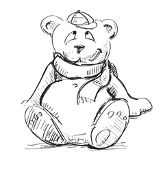 Teddy bear in a cap and scarf vector image vector image