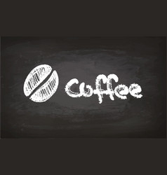 text and coffee bean chalk sketch vector image vector image