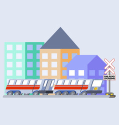 train flat skew icon vector image vector image