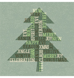 xmas tree retro card vector image