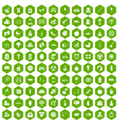 100 maternity leave icons hexagon green vector