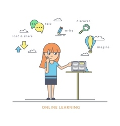 Young redhair girl using a tablet pc and reading vector
