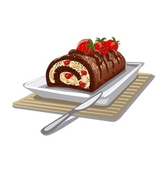 Cake chocolate with strawberry vector