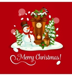 Christmas day greeting card with snowman and clock vector