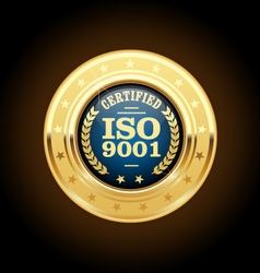 ISO 9001 standard medal - quality management vector image