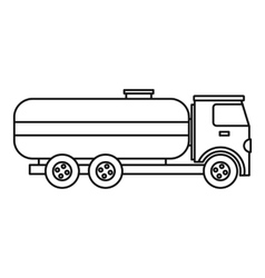 Fuel tanker truck icon outline style vector image