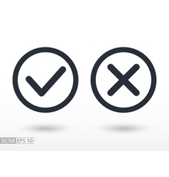 Confirm and deny flat icon logo for web design vector