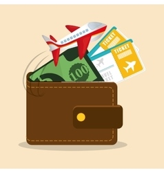 Travel wallet ticket money airplane vector