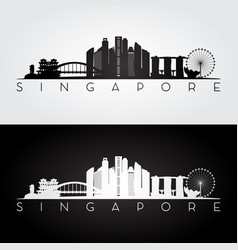 singapore skyline and landmarks silhouette vector image