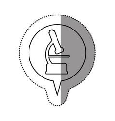 Monochrome contour sticker with microscope icon in vector