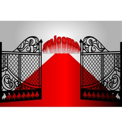 Gate with inscription welcome vector