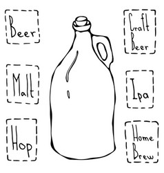 Vintage beer bottle hand drawn vector