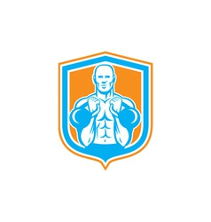 Weightlifter lifting kettlebell shield retro vector