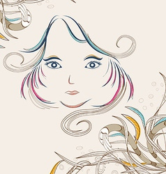 Beautiful doodle girl silhouette with floral vector