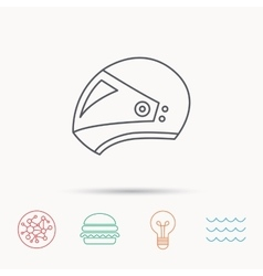 Motorcycle helmet icon biking sport sign vector