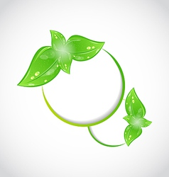 Abstract frame with eco green leaves vector image